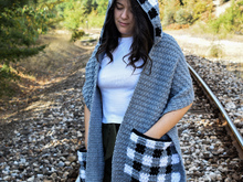 """Checkmate"" crochet pocket scarf pattern with hoodie- 6 different sizes"