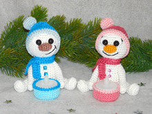 Crochet Pattern Snowman tealight holder