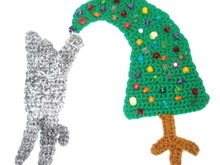 Pattern Cat with Christmas tree applique