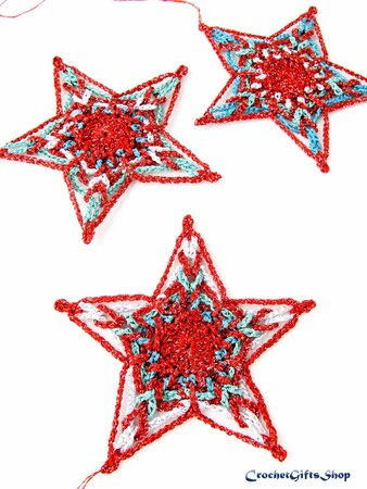 Crochet Pattern Christmas Star Ornaments (16)