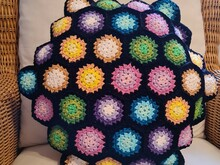 Anleitung Rundes Granny Square Kissen