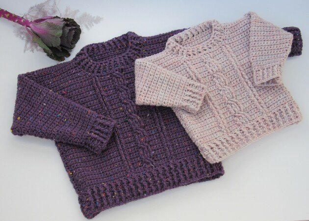 Darcy Crochet Sweater Childs Aran Pattern