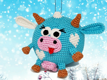 Pattern Funny Cow Xmas Ornament