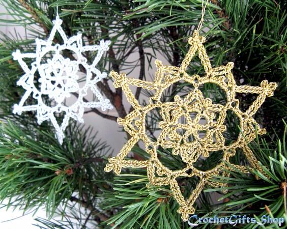 Crochet Pattern Christmas Snowflake Ornaments 8