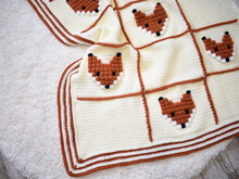 "Crochet Pattern baby blanket with foxes- ""Foxyland"""