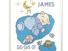 Birthday announcement scheme for Cross stitch