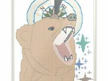 Bear and Compass Cross Stitch
