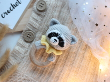 Crochet pattern baby rattle raccoon