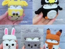 (5 in 1) 5 Animals Headphone Case cove Cute, Crochet Pattern