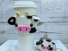 2 in 1- Cow Coffee Cozy - Cow Coin Purse , Crochet Pattern