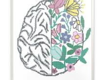 Flower brain, counted cross stitch pattern
