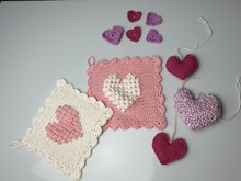 Valentinesday set, heart sprinkle deko, 3d heart and dishcloth