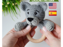 Crochet wolf baby rattle pattern
