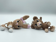 Crochet Pattern - keychain monkey and bunny