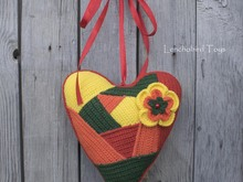 Crochet pattern for colorful Patchwork Heart. Valentine's Day gift.