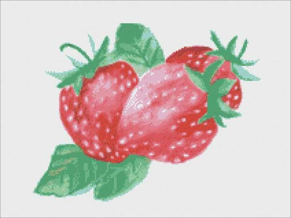 Strawberry cross stitch pattern