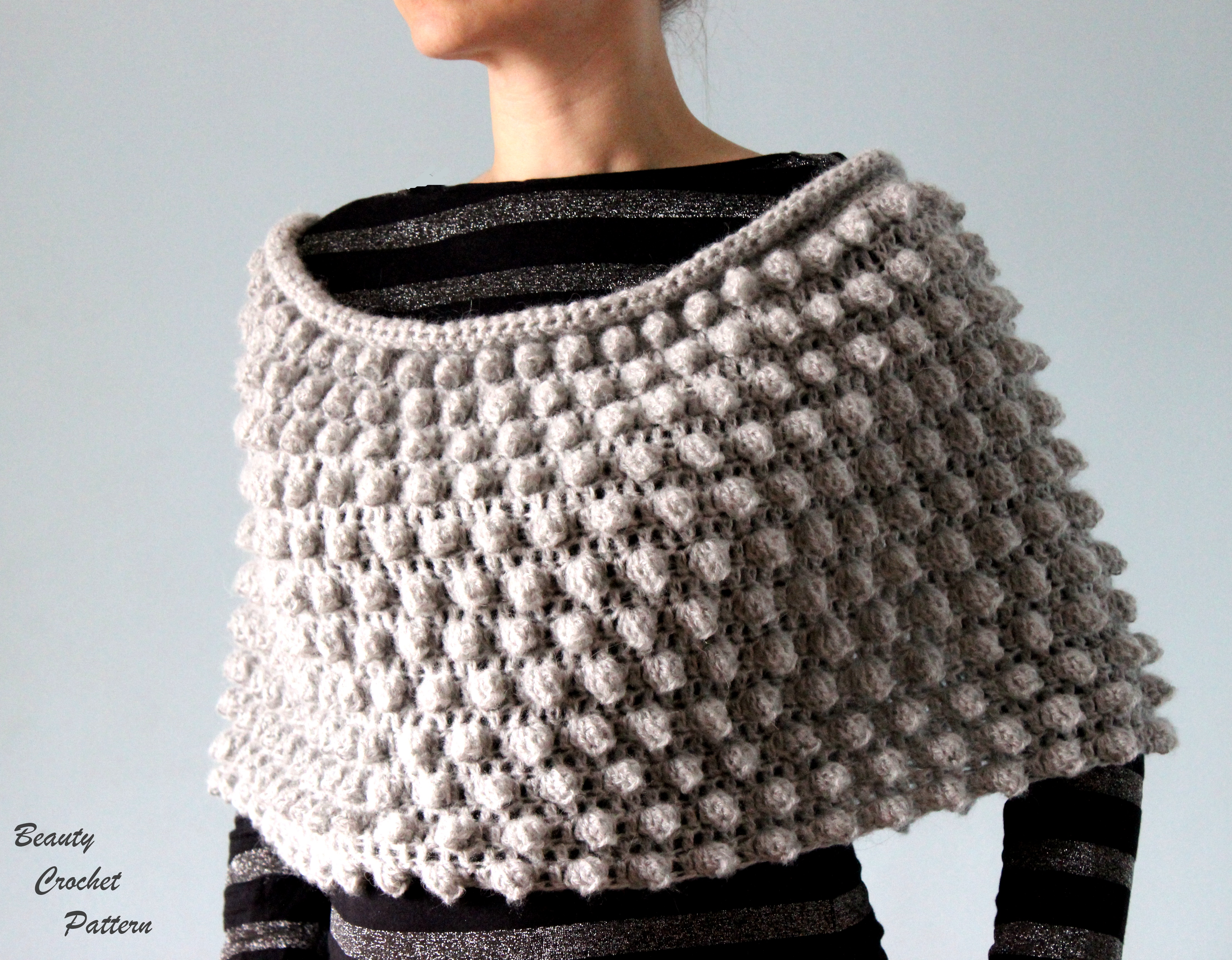 Popcorn Poncho Crochet Pattern
