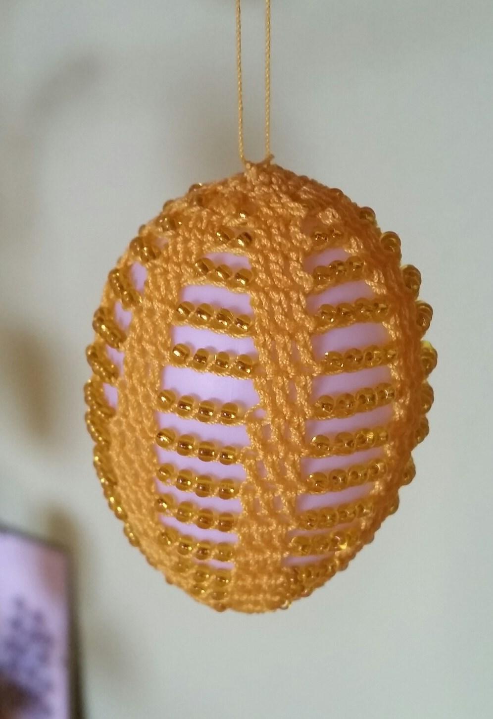 Christbaumkugeln Weiß Gold.Ostereier Häkeln Perlen
