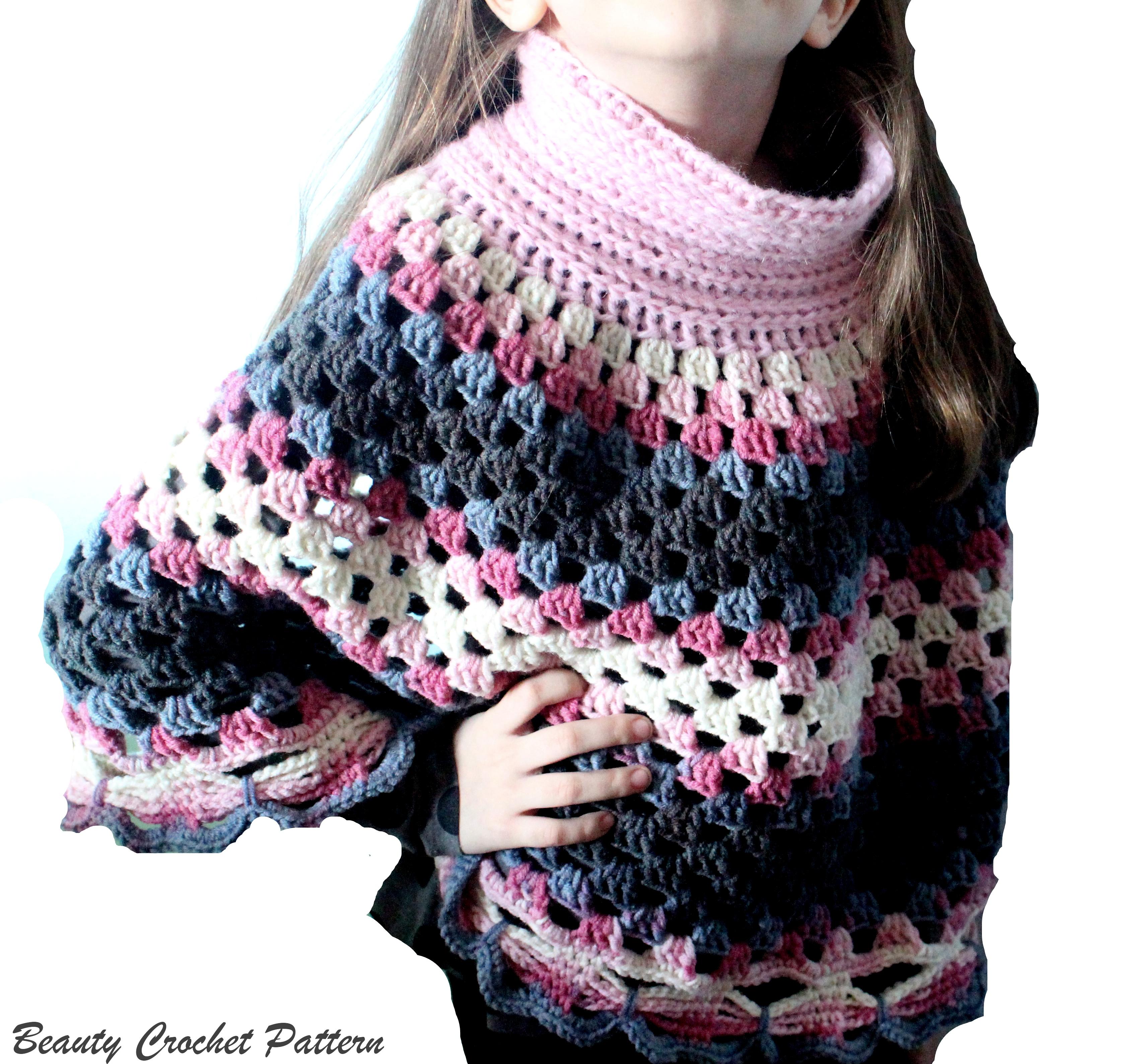Crochet Poncho Pattern, Women Ponchos, Granny Square Pattern, Poncho  Crochet Pattern Child - Women size
