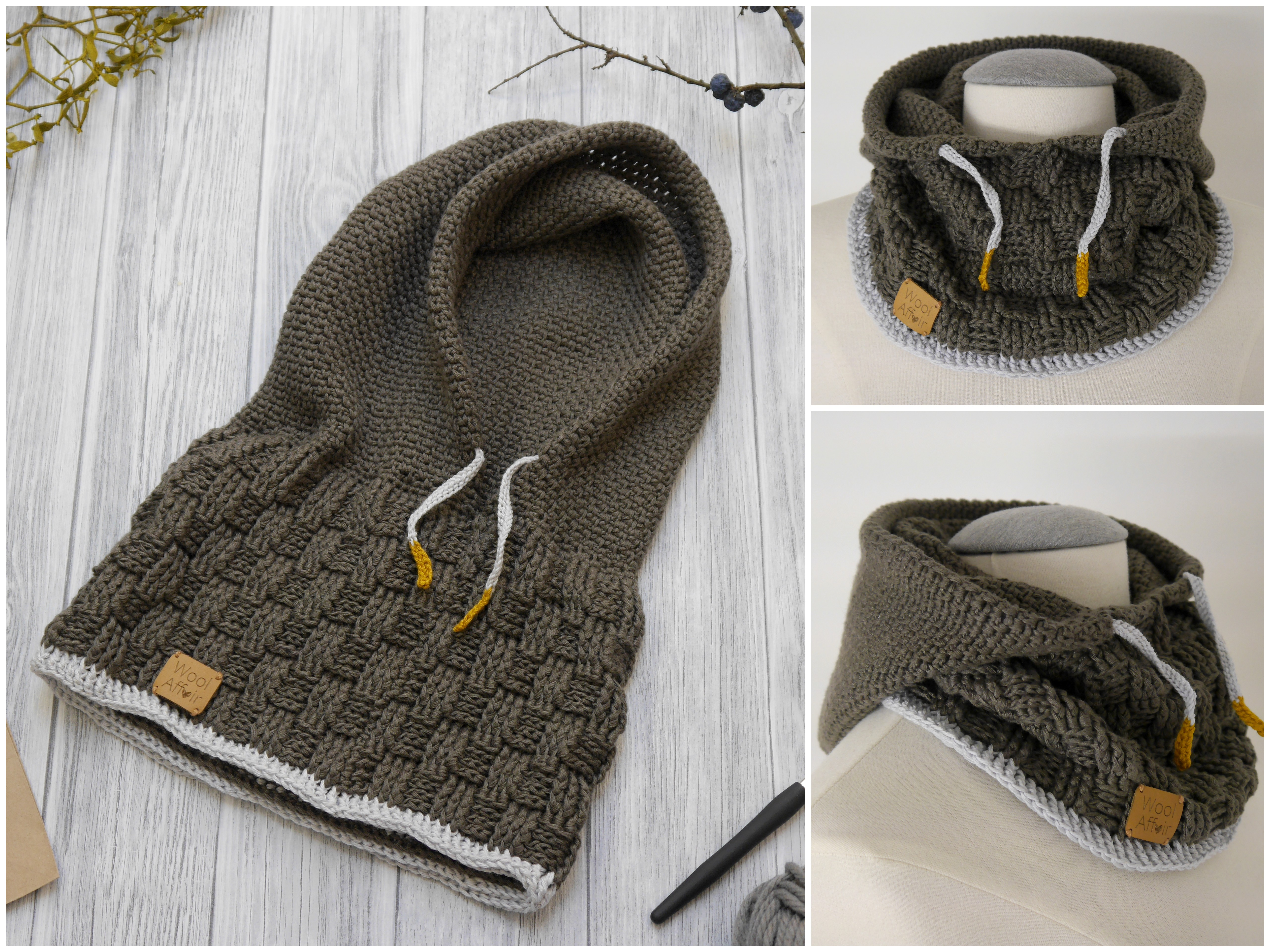 Crochet Pattern Hooded Scarf Scoody No 184e