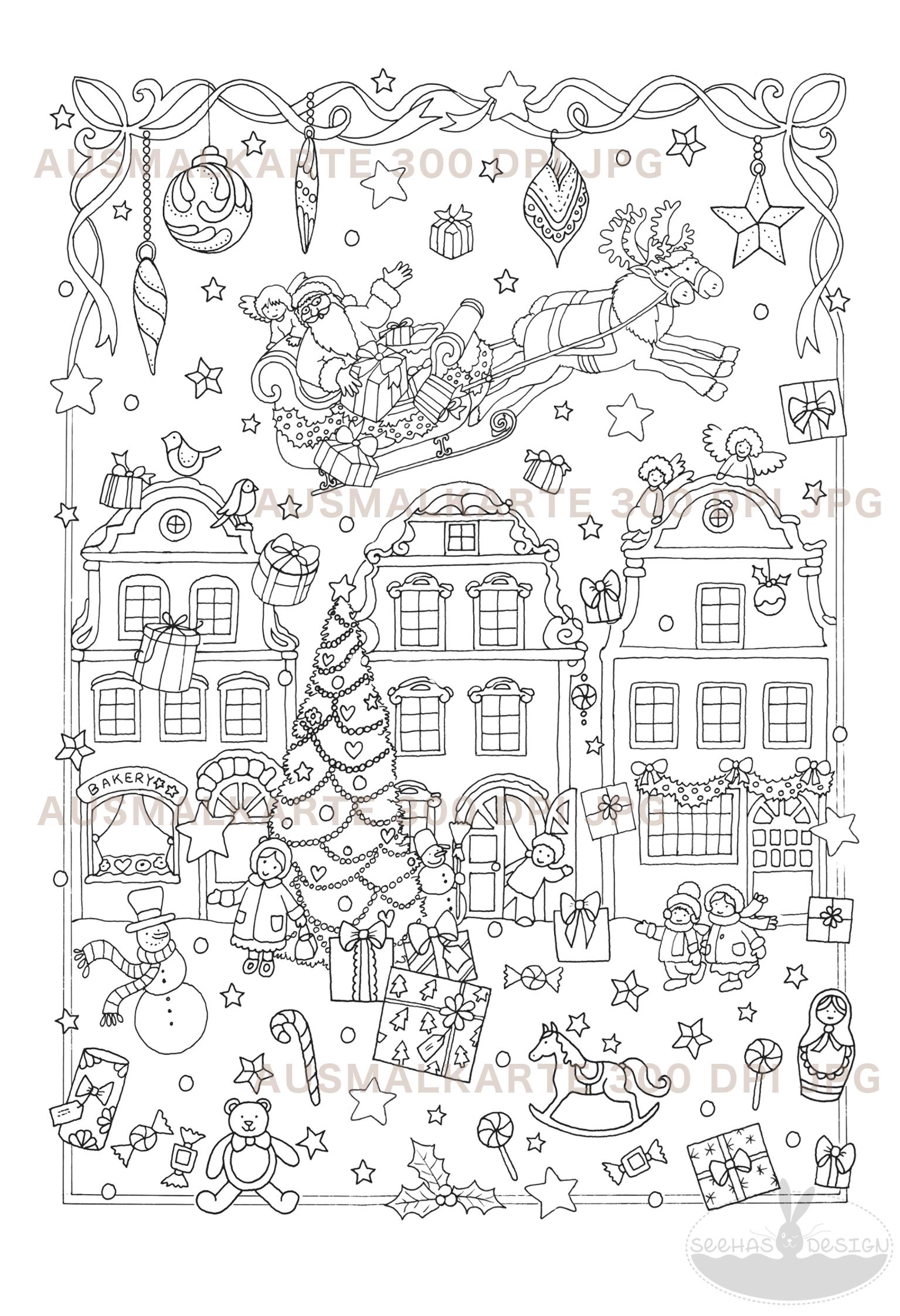 Druckvorlage Ausmalkarte Weihnachtsdorf A12