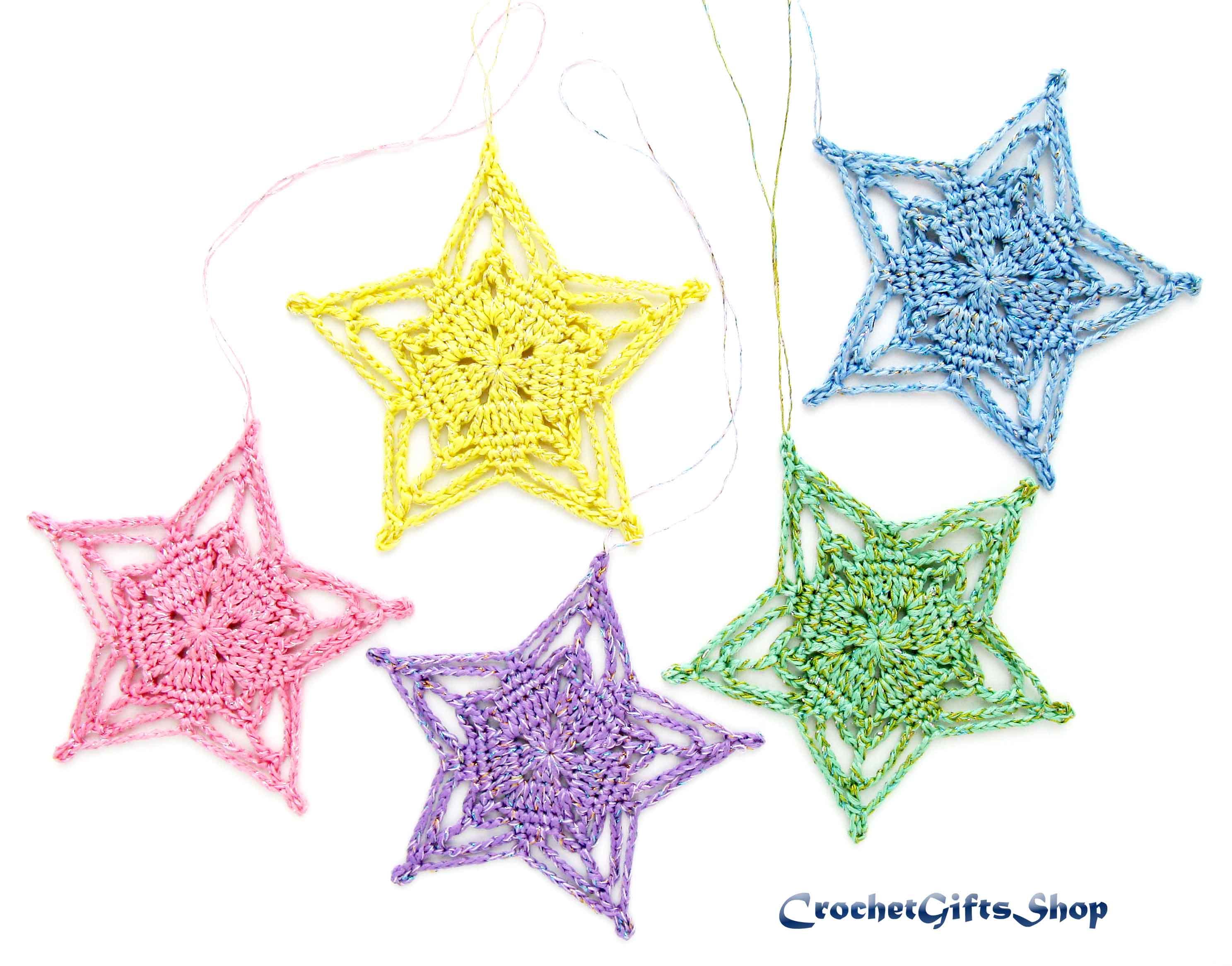 Crochet Pattern Christmas Star Ornaments 8