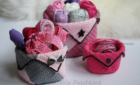Crochet Pattern - Basket. Crochet Organizer containers. Pink organizer for all. Crochet Pattern Box