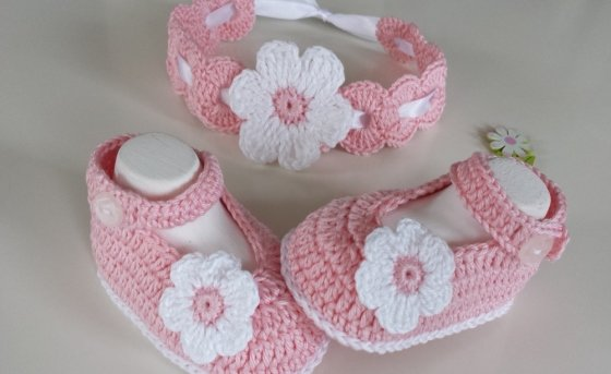 Crochet Babyset Shoes / Headband