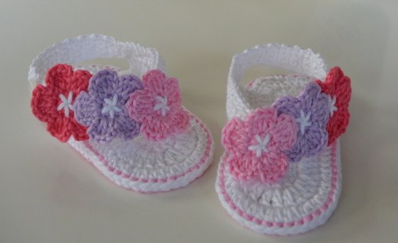 Baby FlipFlops with Flowers