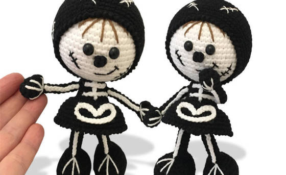 159 Crochet Pattern - Girl doll in a Halloween Skeleton outfit - Amigurumi PDF file by Stelmakhova CP