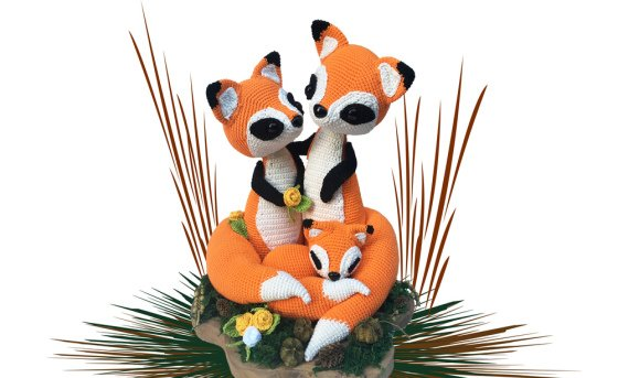 Fox family Pattern Amigurumi PDF Deutsch - English - Dutch